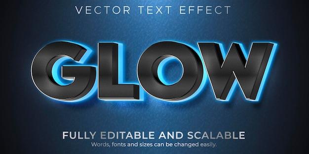 Effetto di testo luminoso bagliore, stile di testo luce al neon modificabile Vettore Premium