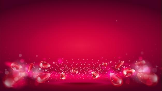 Onda bagliore o aura di luce su sfondo rosso Vettore Premium