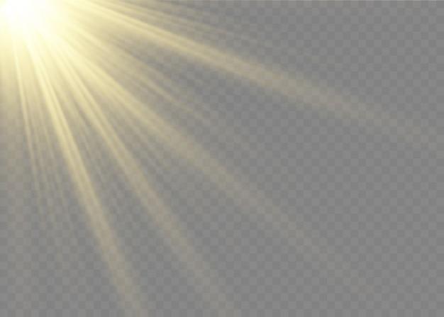 La luce incandescente esplode su uno sfondo trasparente. stella luminosa. sole splendente trasparente. Vettore Premium