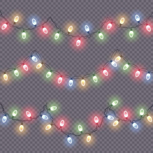 Luci incandescenti per decorazioni natalizie Vettore Premium