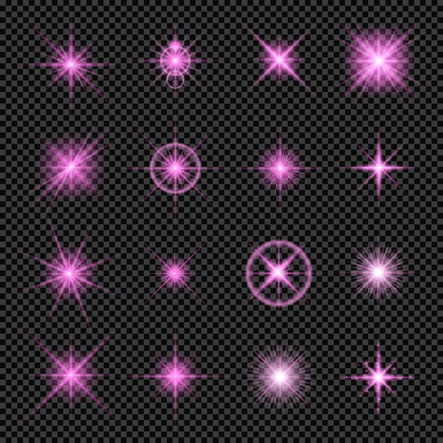 Effetti di luci incandescenti in rosa isolato su sfondo trasparente Vettore Premium