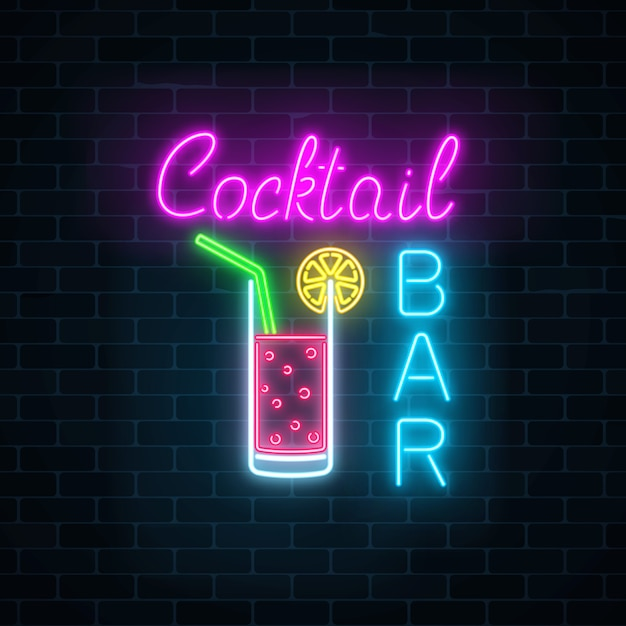 Insegna al neon luminosa della barra dei cocktail Vettore Premium