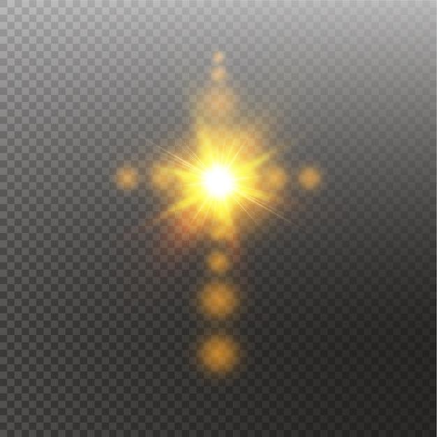 Incandescente croce cristiana bianca con chiarore del sole. illustrazione su sfondo trasparente. brillante simbolo di pasqua della risurrezione nel cielo. Vettore Premium
