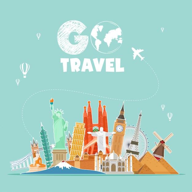 Vai illustrazione di viaggio Vettore Premium