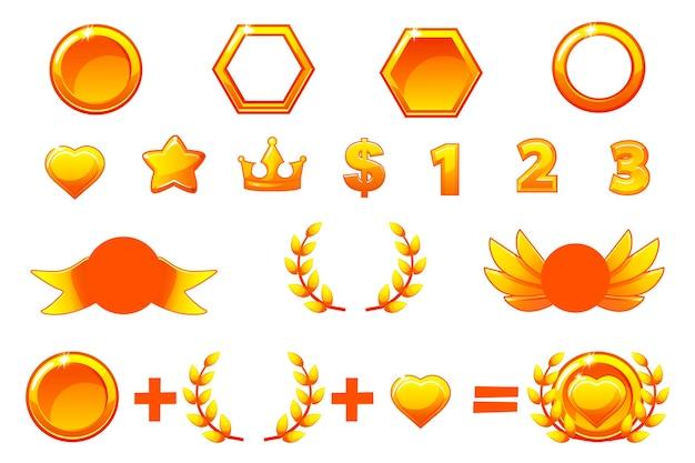 Costruttore di premi d'oro, set vettoriale per creare kit diverse medaglie o icone. Vettore Premium