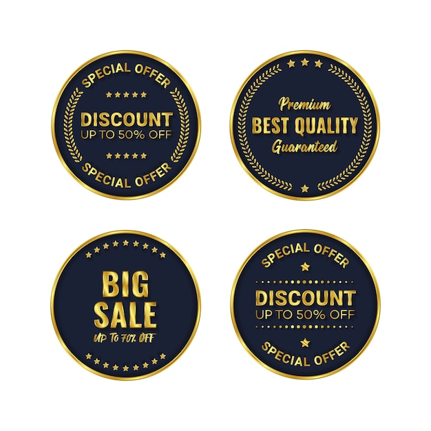 Distintivo d'oro e vettore modello di prodotto etichetta premium Vettore Premium