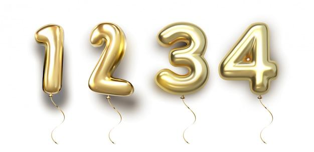 Palloncino d'oro set 1, 2, 3, 4 realizzato in realistico aerostato di rendering 3d. raccolta di palloncini numerati pronti per l'uso per decorazioni uniche con diverse idee concettuali in ogni occasione Vettore Premium