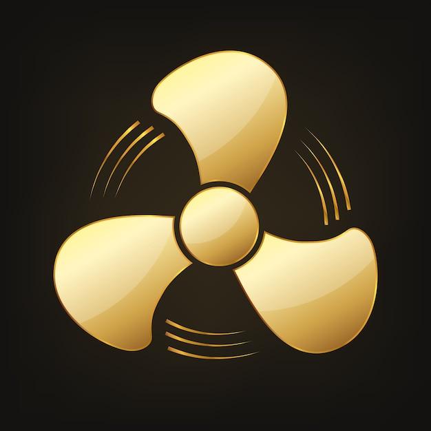 Oro brillante icona ventola illustrazione Vettore Premium