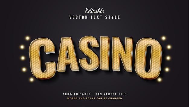 Stile di testo casinò oro con effetto curvo e strutturato Vettore Premium