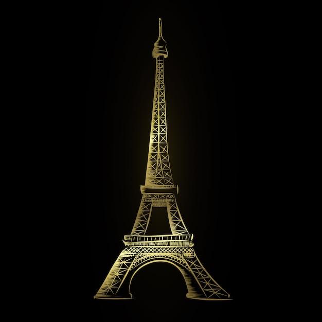 Torre eiffel d'oro Vettore Premium