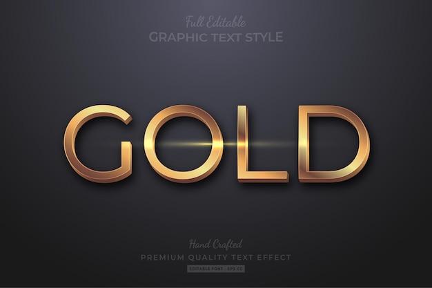 Stile carattere oro elegante modificabile effetto testo Vettore Premium