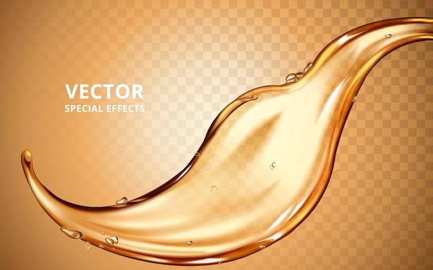 Elemento di flusso del fluido d'oro, può essere utilizzato come effetto speciale Vettore Premium