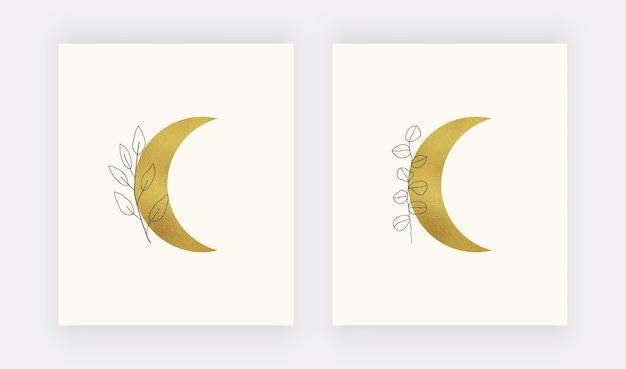 Stampa artistica da parete con luna in lamina d'oro. boho metà secolo Vettore Premium