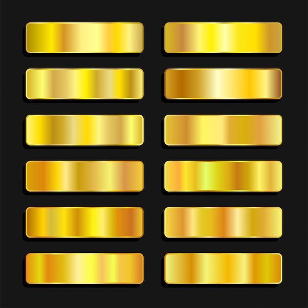 Sfumatura metallica della tavolozza di colori dorati dorati Vettore Premium