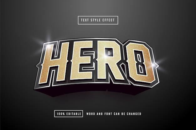 Effetto testo gold hero modificabile Vettore Premium