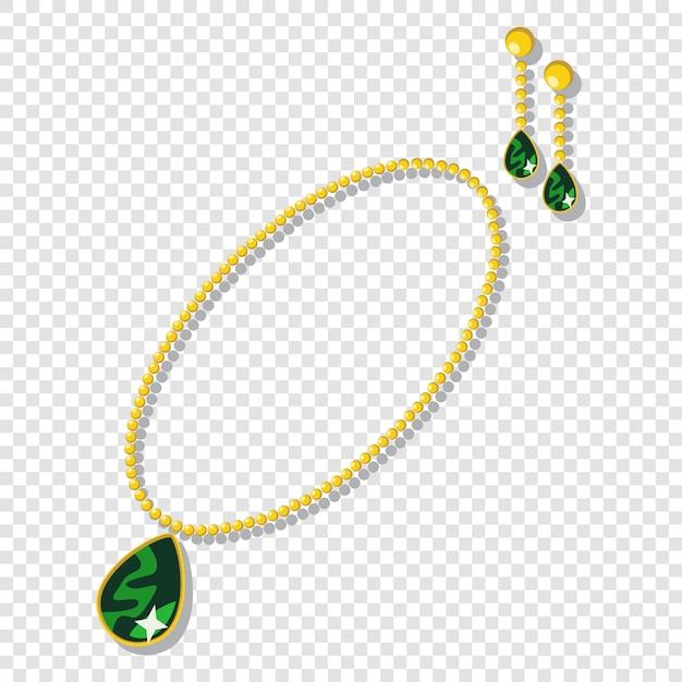Accessori per gioielli in oro: collane e orecchini con pietre preziose verdi. Vettore Premium
