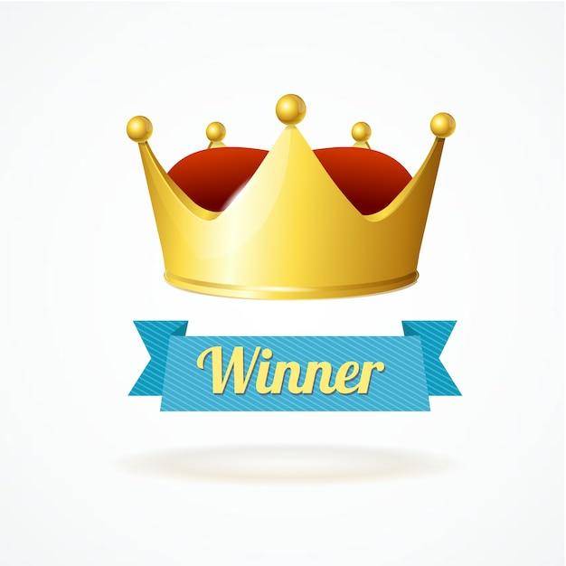 Gold king crown isolato su uno sfondo bianco simpol vincitore Vettore Premium