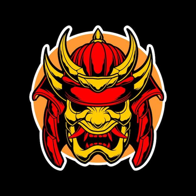 Logo samurai maschera d'oro Vettore Premium