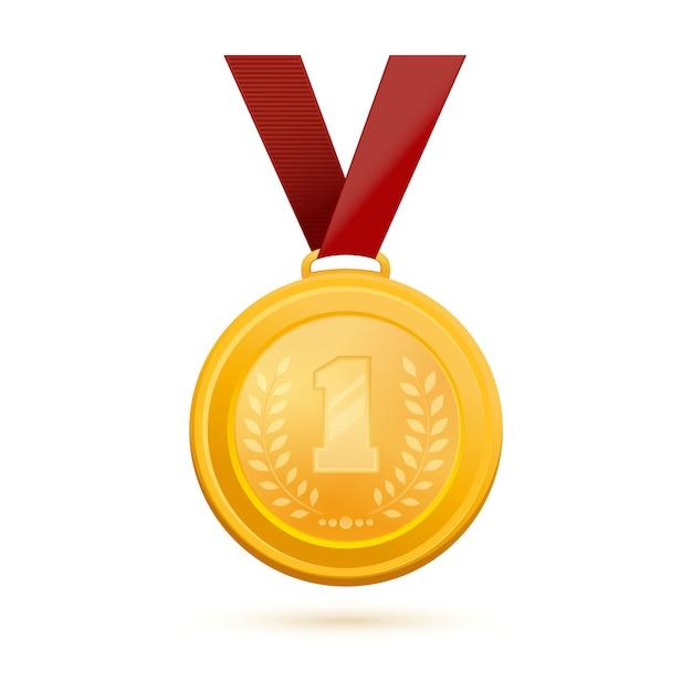 Medaglia d'oro per il primo posto. distintivo d'oro del primo posto. medaglia d'oro con l'immagine del numero 1 e un ramo d'ulivo. illustrazione Vettore Premium