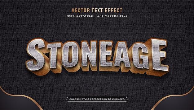 Stile di testo in oro e metallo con effetto texture pietra Vettore Premium