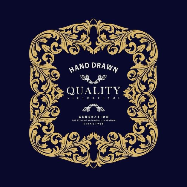 Vettore di cornice di lusso ornamento d'oro Vettore Premium