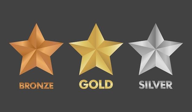 Illustrazione stabilita di vettore della stella dell'argento e del bronzo dell'oro. Vettore Premium