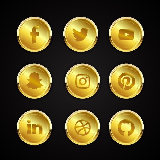 Collezione di icone social media oro Vettore Premium