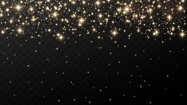 Scintille d'oro e stelle dorate brillano con uno speciale effetto di luce. Vettore Premium