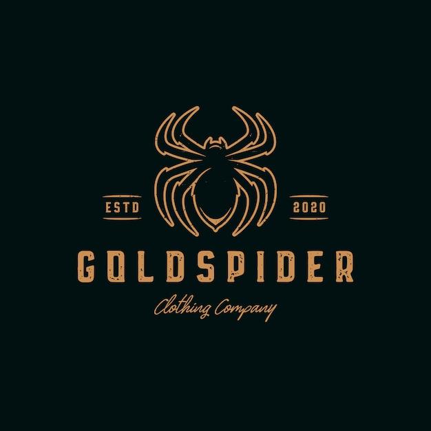 Modello di logo vintage ragno d'oro Vettore Premium