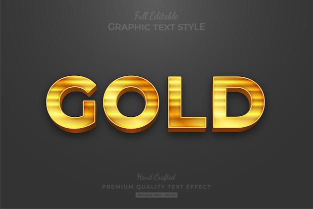Stile del carattere di effetto testo modificabile elegante striscia d'oro Vettore Premium