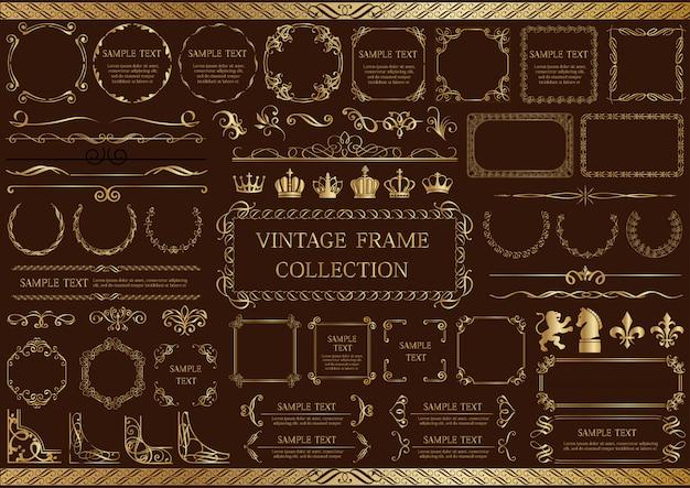 Set cornice oro vintage isolato su uno sfondo scuro. Vettore Premium