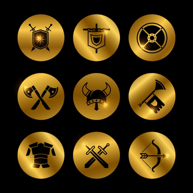 Icone medievali del guerriero dell'annata d'oro con luci Vettore Premium