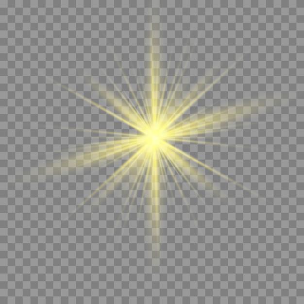 Esplosione di burst dell'indicatore luminoso incandescente bianco o dell'oro trasparente. Vettore Premium
