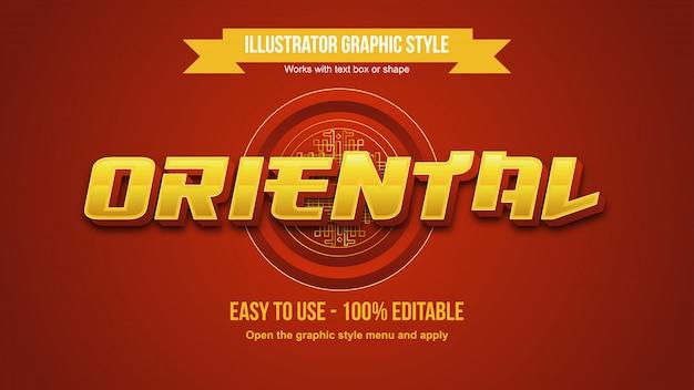 Effetto di testo modificabile orientale grassetto metallico dorato 3d Vettore Premium