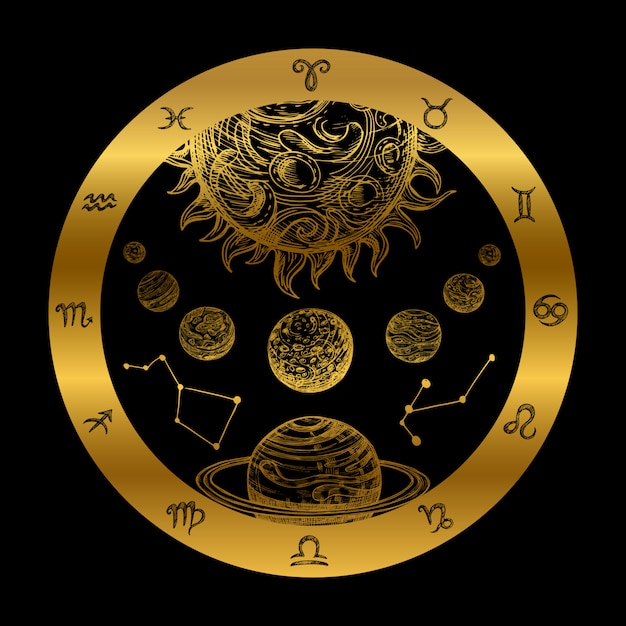 Illustrazione dorata di astrologia Vettore Premium