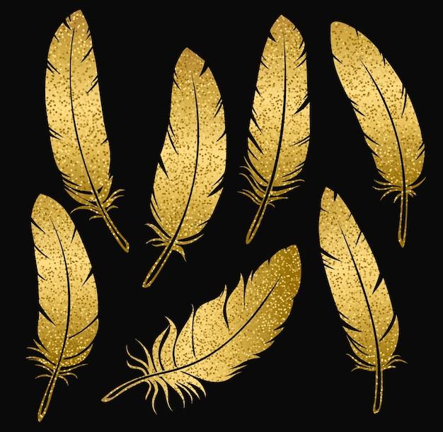Piume di uccello d'oro Vettore Premium