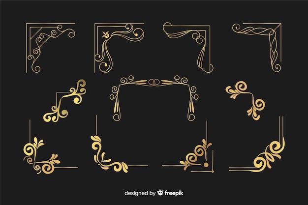 Ornamento bordo dorato con collezione di forme diverse Vettore Premium