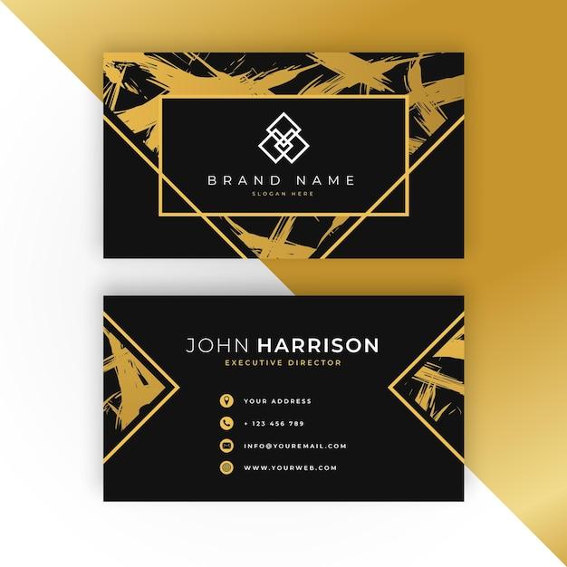 Modello di biglietto da visita d'oro Vettore Premium