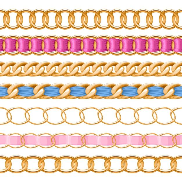 Catene dorate con spazzola a nastro in tessuto filettato colorato. buono per collana, braccialetto, accessorio di gioielli. Vettore Premium