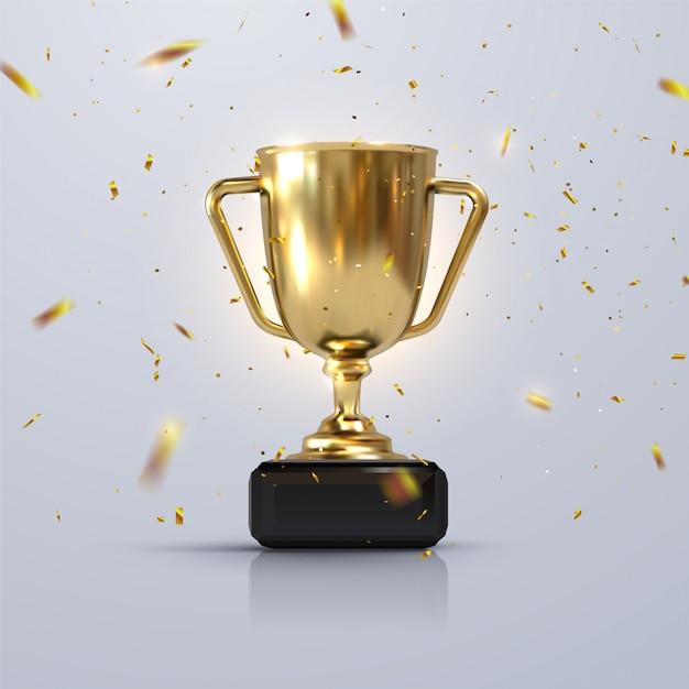 Coppa del campione d'oro isolato su sfondo bianco Vettore Premium