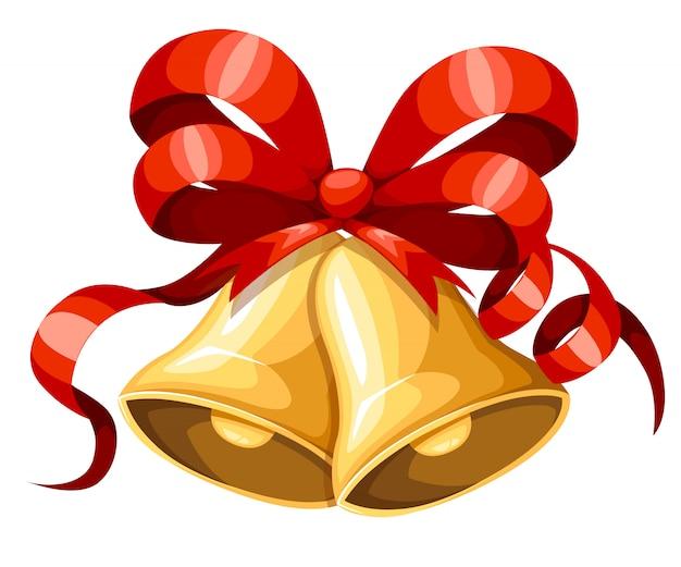 Campana di natale dorata con nastro rosso e fiocco. decorazione natalizia. icona di jingle bells. illustrazione su sfondo bianco. Vettore Premium