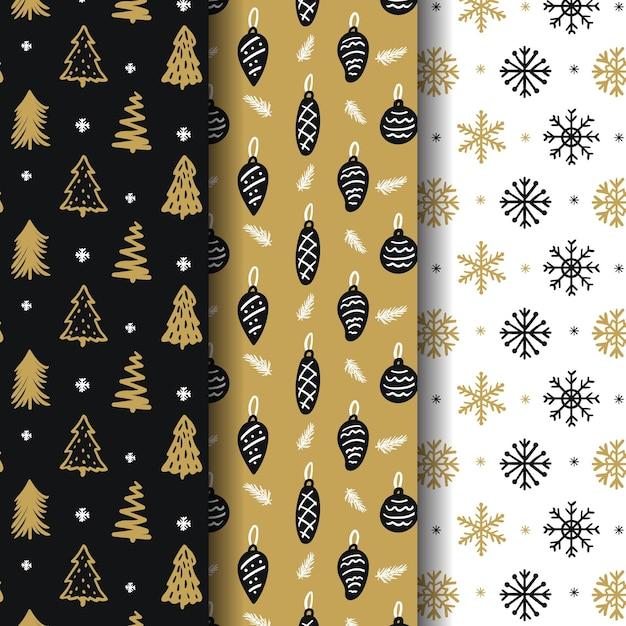 Collezione di motivi natalizi dorati Vettore Premium