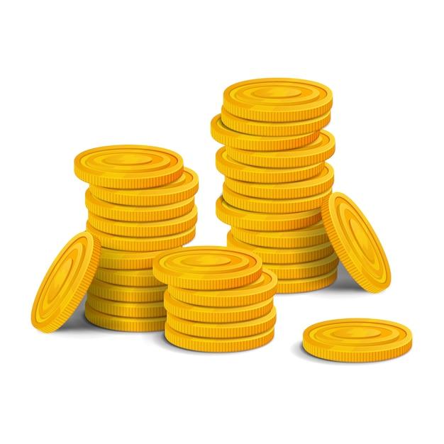 Grande pila di monete d'oro. grande mucchio di asset di gioco realistico di denaro lucido colorato. illustrazione isolato su sfondo bianco Vettore Premium