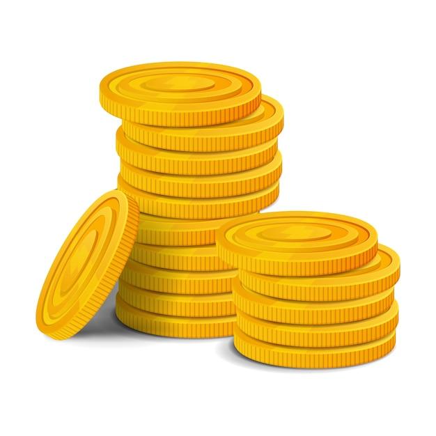 Mucchio di monete d'oro. asset di gioco realistico denaro lucido colorato Vettore Premium