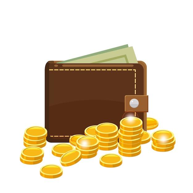Monete e portafoglio dorati con le banconote dei dollari in borsa Vettore Premium