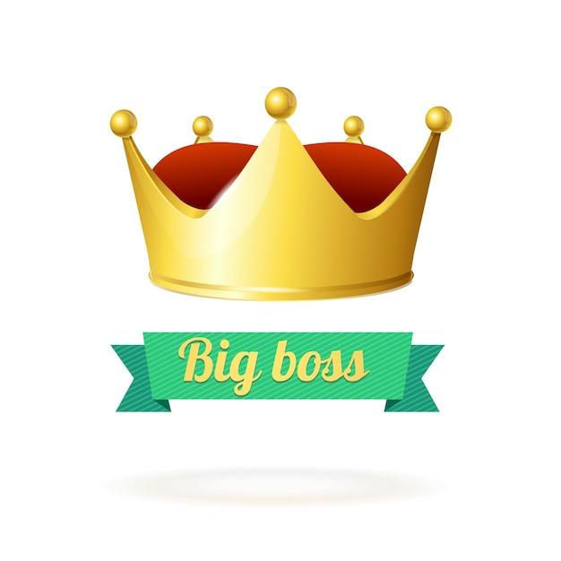 Concetto di corona d'oro. un simbolo di potere. Vettore Premium