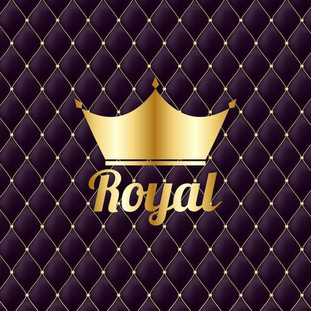 Golden crown royal vintage sfondo di lusso Vettore Premium