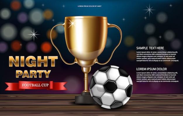 Coppa d'oro e pallone da calcio Vettore Premium
