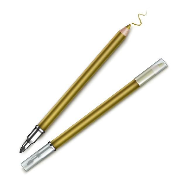 Matite eyeliner trucco cosmetico bifacciale dorato Vettore Premium
