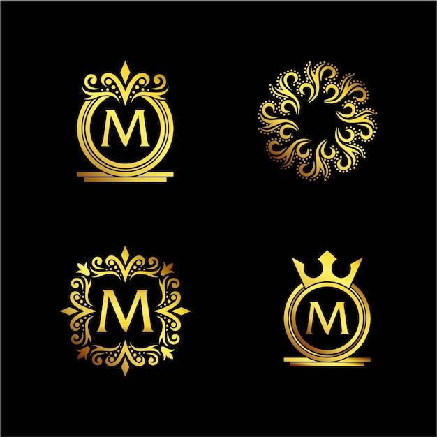 Logo ornamentale elegante dorato Vettore Premium